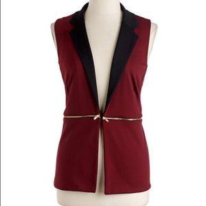 Green Envelope || XS Red Merlot Gold Zipper Vest
